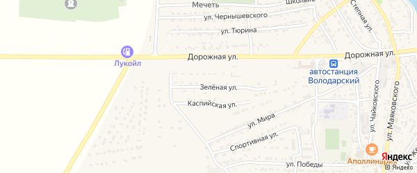 Зеленая улица на карте Володарского поселка с номерами домов