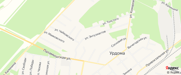 ГСК N6 на карте улицы Энтузиастов с номерами домов