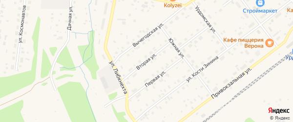 Вторая улица на карте поселка Урдома с номерами домов