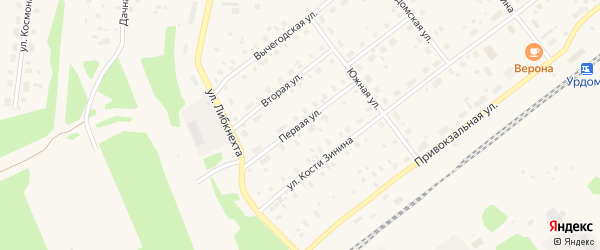 Первая улица на карте поселка Урдома с номерами домов