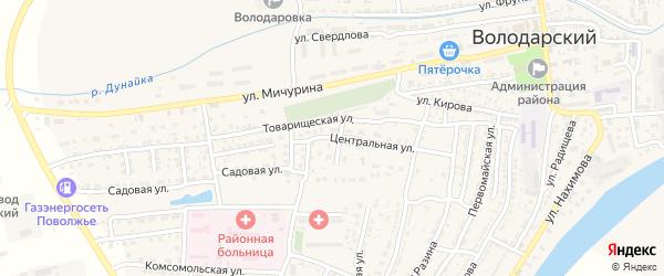 Центральная улица на карте Володарского поселка с номерами домов