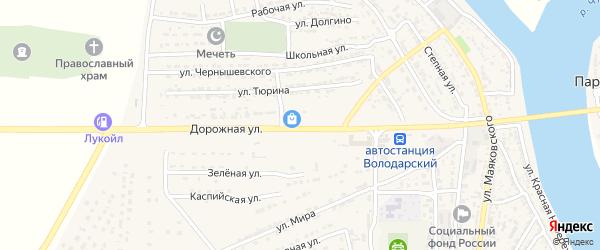 Дорожная улица на карте Володарского поселка с номерами домов