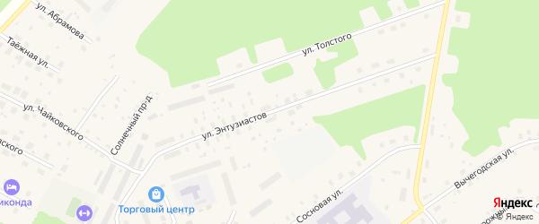 Улица Энтузиастов на карте поселка Урдома с номерами домов