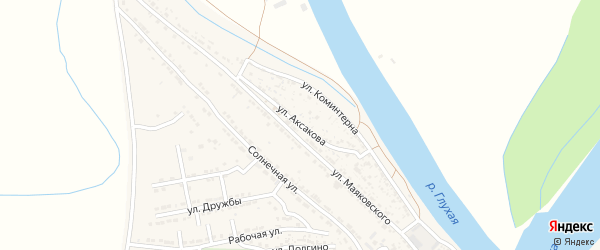 Улица Аксакова на карте Володарского поселка с номерами домов