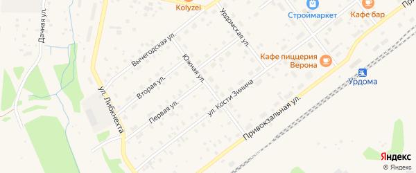 Южная улица на карте поселка Урдома с номерами домов