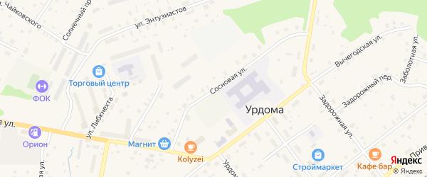 Сосновая улица на карте Савинского поселка с номерами домов