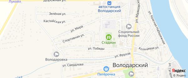 Спортивный переулок на карте Володарского поселка с номерами домов