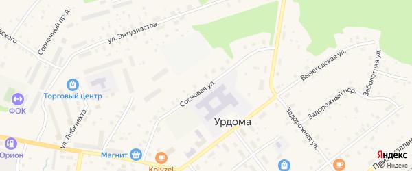 Сосновая улица на карте поселка Урдома с номерами домов