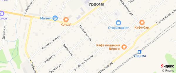 Урдомская улица на карте поселка Урдома с номерами домов