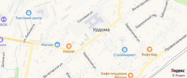 Вычегодская улица на карте поселка Урдома с номерами домов
