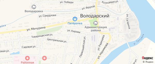 Переулок Кирова на карте Володарского поселка с номерами домов