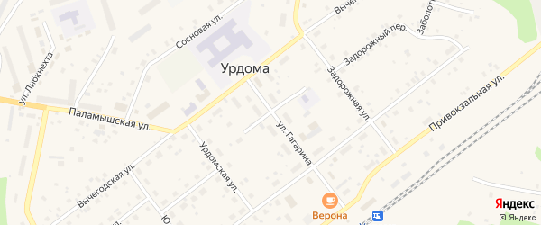 Вычегодский переулок на карте поселка Урдома с номерами домов