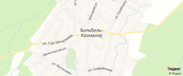 Каспийская улица на карте села Бильбиля-Казмаляра с номерами домов