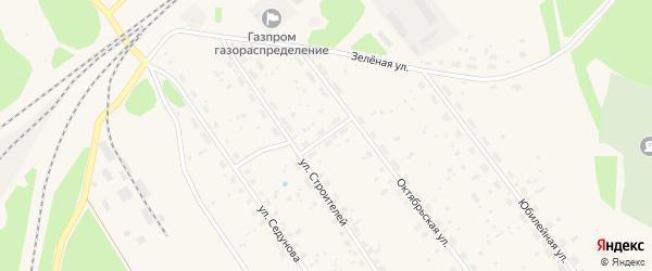 Переулок Строителей на карте поселка Урдома с номерами домов