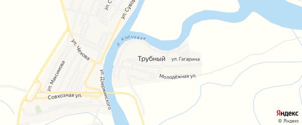 Карта Трубного поселка в Астраханской области с улицами и номерами домов