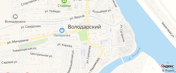 Октябрьская площадь на карте Володарского поселка с номерами домов