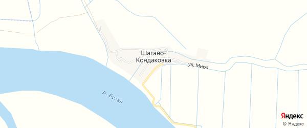 Карта села Шагано-кондаковки в Астраханской области с улицами и номерами домов