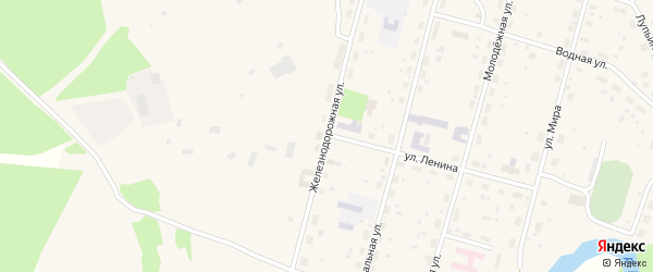 Железнодорожная улица на карте поселка Урдома с номерами домов