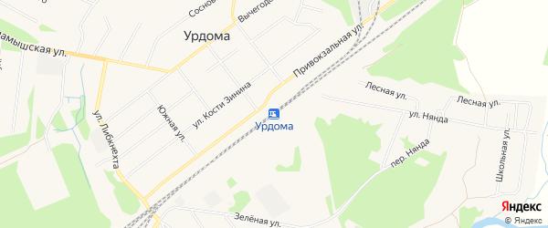 Карта поселка Урдома в Архангельской области с улицами и номерами домов