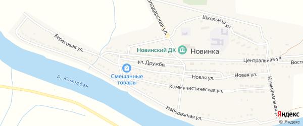 Улица Дружбы на карте села Новинки с номерами домов