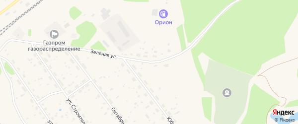 Зеленая улица на карте поселка Урдома с номерами домов