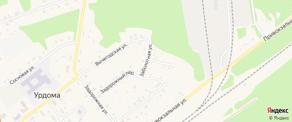 Заболотная улица на карте поселка Урдома с номерами домов