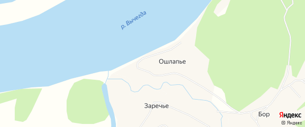 Карта деревни Ошлапье в Архангельской области с улицами и номерами домов