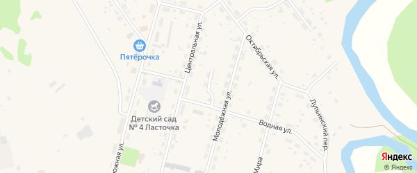 Центральный переулок на карте поселка Урдома с номерами домов