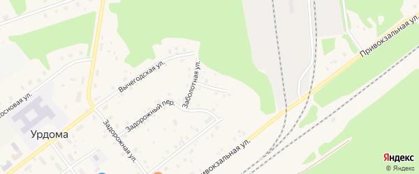 Мирный переулок на карте поселка Урдома с номерами домов
