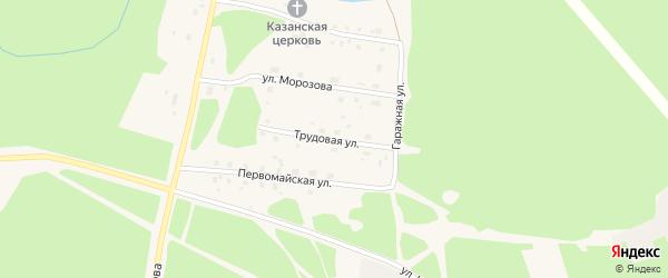 Трудовая улица на карте поселка Урдома с номерами домов