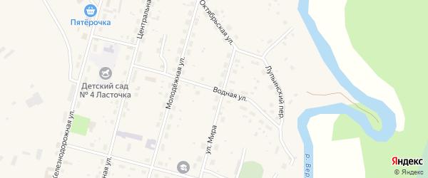 Водная улица на карте поселка Урдома с номерами домов