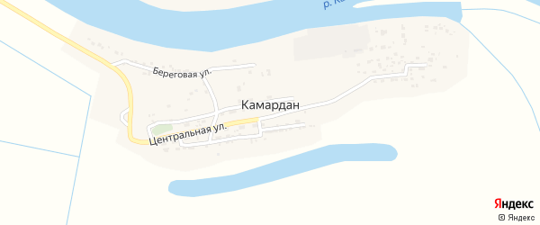 Береговая улица на карте поселка Камардан с номерами домов