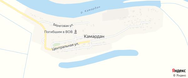 Центральная улица на карте поселка Камардан с номерами домов