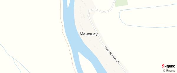 Набережная улица на карте поселка Менешау с номерами домов