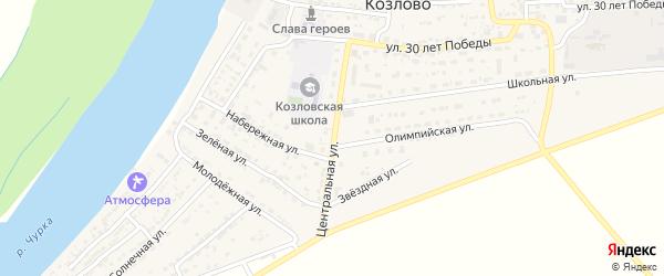 Центральная улица на карте села Козлово с номерами домов