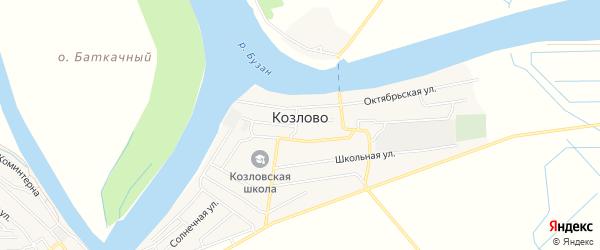 Карта села Козлово в Астраханской области с улицами и номерами домов