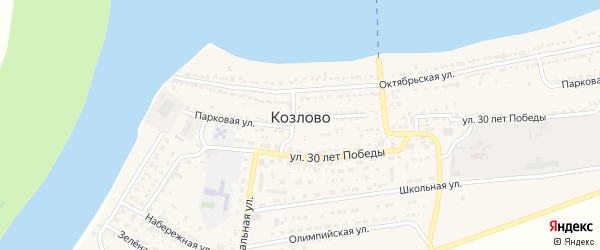 Зеленая улица на карте села Козлово с номерами домов
