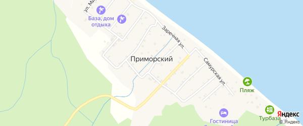 Школьная улица на карте села Приморского с номерами домов