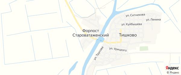 Карта села Форпоста Староватаженского в Астраханской области с улицами и номерами домов