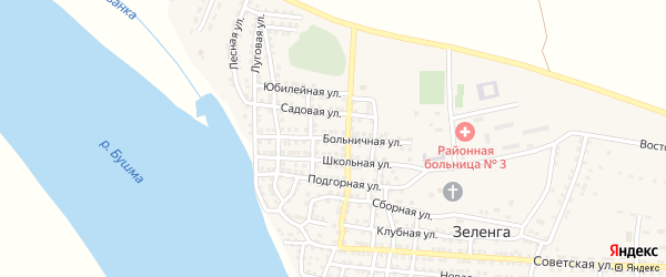 Больничная улица на карте села Зеленга с номерами домов