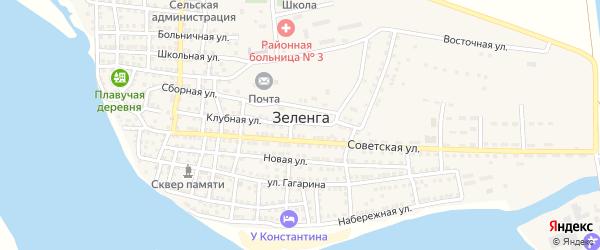 Восточная улица на карте села Зеленга с номерами домов