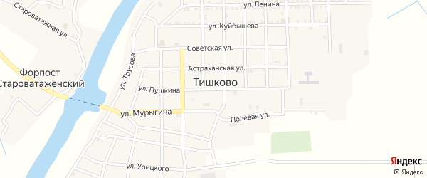 Улица Пушкина на карте села Тишково с номерами домов