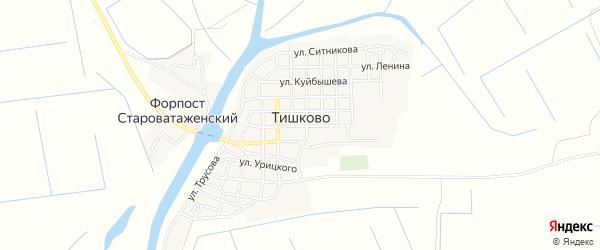 Карта села Тишково в Астраханской области с улицами и номерами домов