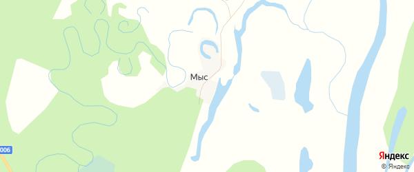 Карта деревни Мыса в Архангельской области с улицами и номерами домов