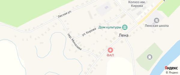 Улица Кости Зинина на карте села Лена с номерами домов