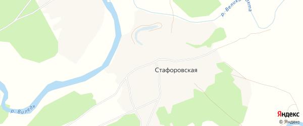 Карта Стафоровской деревни в Архангельской области с улицами и номерами домов