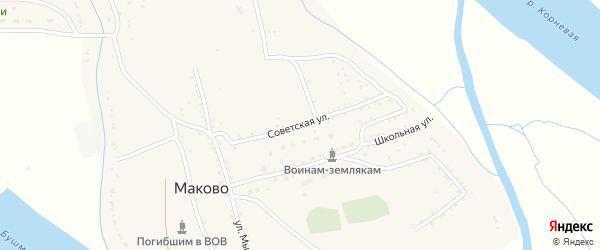 Советская улица на карте села Маково с номерами домов