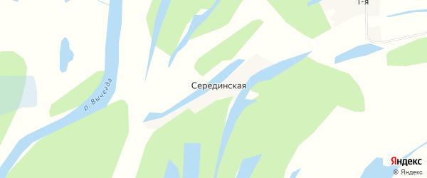 Карта Серединской деревни в Архангельской области с улицами и номерами домов