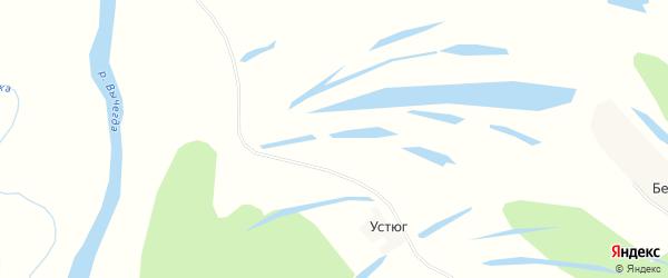 Карта деревни Устюга в Архангельской области с улицами и номерами домов