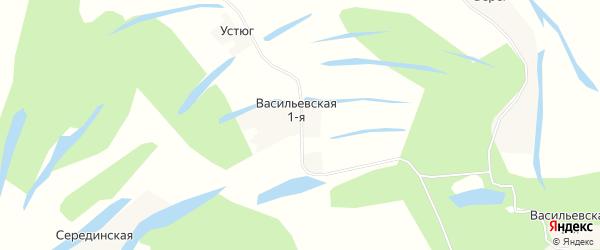 Карта деревни Васильевской-1 в Архангельской области с улицами и номерами домов